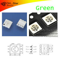 100PCS SMD SMT 5050(2020) PLCC-6 3-CHIPS LED Green Light Emitting Diodes