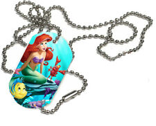 Disney Princess Ariel, Little Mermaid, 1 x ID Dog Tag  With Bead Necklace