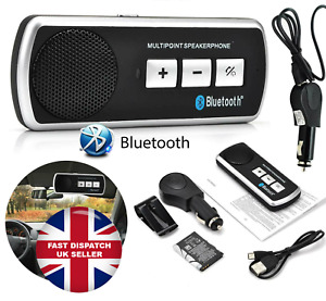 Bluetooth Sun Visor Speaker Hands Free Car Kit Music Player Phone Calls Gift UK
