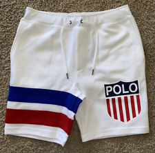 NWT Mens Polo Ralph Lauren White KSWISS Chariots of Fire Logo Men's Shorts