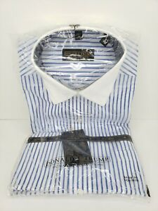 Donald Trump Signature Collection Long Sleeve Blue Stripes 16 34-35