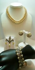 VINTAGE 1950's & Earlier 4 Pc Lot CORO Bracelet, Glass Pearl Necklace, ER & PIN
