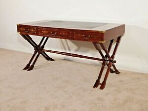 ANTIQUE Rosewood w Brass Inlay CAMPAIGN Desk