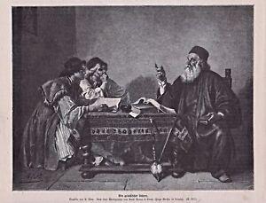 """Lehrer, Gelehrter, Schule, - """"Griechischer Lehrer"""" - Stich, Holzstich um 1885"""