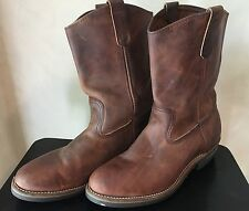 LL Bean Brown Leather Mens Cowboy Roper Boots 9.5