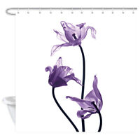 Purple Flower Shower Curtain for Bathroom Shower Accessories with 12PCS Hooks