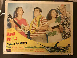 "Pardon My Sarong 1950'sRR 11x14"" lobby card Abbott & Costello Marie MacDonald"