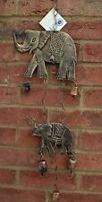 Wind Chime Elephant Bell Hanging Bronzed Metal Fair Trade Home Indoor Garden