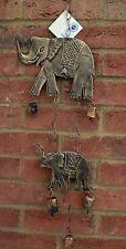 Carillón de viento Elefante Campana Colgante De Bronceado De Metal de comercio justo Casa Jardín Interior Nueva