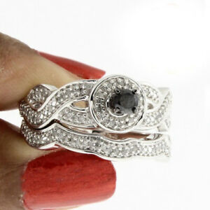 0.70 Ct Black & Simulated 18K White Gold Over Halo Engagement Bridal Ring