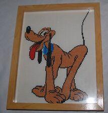 "Vintage Walt Disney Pluto Cross Stitch Sewing Art Needlepoint Framed 11"" x 9"""