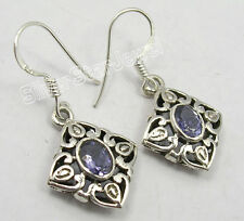 "925 Sterling Silver FACETED IOLITE CAST FRENCH WIRE Earrings 1.3"" OXIDIZED"