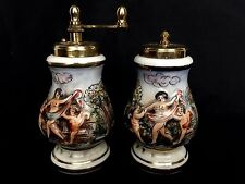 Capodimonte Brass Salt and Pepper Mill Set Cream Figural Scene Vintage Italy