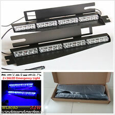 32LED Blue Car Windshield Visor Emergency Traffic Advisor Strobe LED Lights Bar