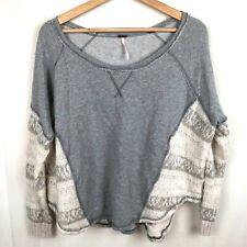 Free People Long Sleeve Knit Sweater Sweatshirt Gray Size Small Boho Hippie