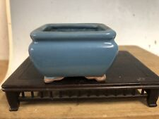 "Mame Or Accent Size Bonsai Tree Pot Made By The Tosui Kiln 2 3/4"" Blue Glazed"
