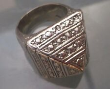 Men's HEAVY Solid Silver Ring 'Pyramid Style Shape' Size Y Stamped Weight 88.5g