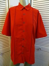 Mens AXIST Button Up Short Sleeve Board Camp Lounge Casual Bowling Shirt RED XL