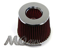 "2.5"" 63mm Flange x 6"" H Round Cone Dry Cold Air / Short Ram Intake Filter RED"