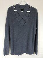 Torrid Womens Plus Size 2 2X Gray Sweater Long Sleeve Cross Strap Knit Neck Top