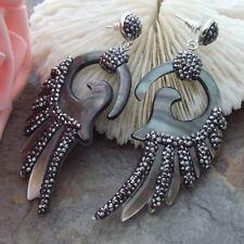 "AB093015 2.9"" Black Shell Earrings"