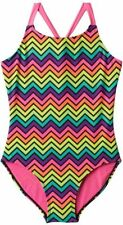 So Size 4 5/6 7/8 12 14 16 Bright Rainbow Chevron Stripe UPF 50 1 Piece Swimsuit