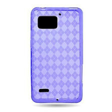 For Verizon Motorola Droid Bionic TPU Candy FLEXI Skin Case Cover Purple Plaid