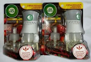 2 Packs Air Wick Apple Cinnamon Medley 1 Warmer 2 Refills/1 Diffuser 2 Recharges