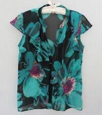 Worthington blue black polyester  floral cap sleeve blouse *Sz M*