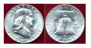 1953 50C-BLAST WHITE & MINT LUSTER Franklin Halve ++