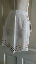 VTG sheer white and lace half apron with orange and brown ric rac and lace trim