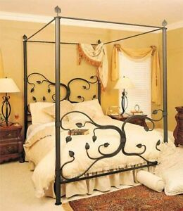 4-Poster Canopy FULL Complete Bed Frame Eden Isle Hand-Forged Black Wrought-Iron