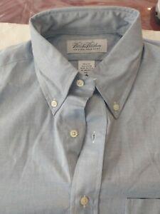 Mens Brooks Brothers L/S Orginal Polo Shirt Button Up  Blue Sz 14-32