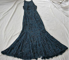 Silk Evening CACHE Dress Gown Formal Beaded Size L Prom Halter Blue Full Length