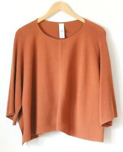 Marla Wynne Womens Shirt Top Ribbed Knit Brown Rust Boxy Size Medium Side Slits
