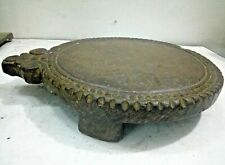 Indian Antique Stone Rare Hand Carved Floral Chapati Bread Rolling Plate