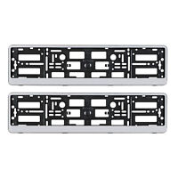 PAIR SILVER NUMBER PLATE SURROUNDS HOLDER FRAME FOR ANY AUDI CAR A3 A4 A6