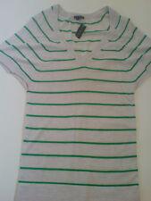 BNWT Theory 100% Cashmere 'Annie' Grey/Green Stripe Short Sleeve Jumper
