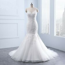 Mermaid  Wedding Dress Tulle Lace Applique Beads V Neck Beach Bridal Gown custom