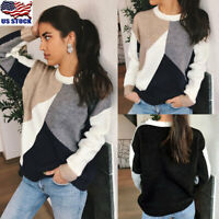 Women Knitted Stitching Sweater Tops Ladies Long Sleeve Knitwear Pullover Jumper