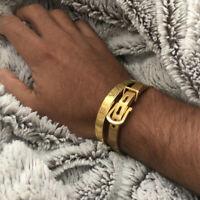 2020 Luxury Men Stainless Steel Roman Numeral Cuff Bangle Fashion Belt Bracelet