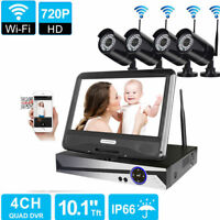 "Wireless 10.1"" LCD 4CH 1080P NVR IR-CUT WIFI 720P HD Camera Home Security System"
