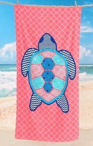 Tropical Beach Pool Towel Sea Turtle 100% Fiber Reactive Cotton Teal Blue Pink