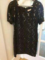 Anne Brooks Petite Ladies Black Lacy Beaded Dress Size 14 Party