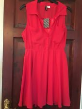 H&M Button Down Dress In Chiffon Style Coral Red Size 14