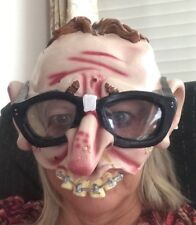 Mad Magazine Half Face Nerd Teeth Braces Glasses Big Ear Mask Halloween Costume