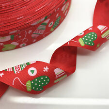 New Hot 5yards 25mm print Christmas stocking ribbon bow Christmas Craft Supplies