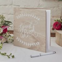 Ginger Ray Wedding Guest Book Vintage Wooden Design - BH-744