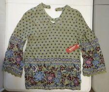 New Arizona Jean Co Girls 14 L Green Pesto Long Sleeve Rayon Shirt Floral