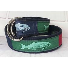 "Vineyard Vines 39"" Navy Blue Canvas Red Green Blue Fish Ribbon Belt Medium Belt"